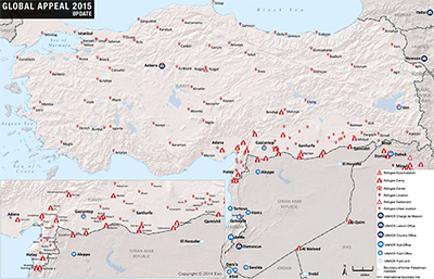 unhcr turkish refugee camps map